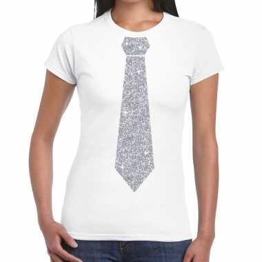 Goedkope stropdas t shirt wit met zilveren glitter das dames