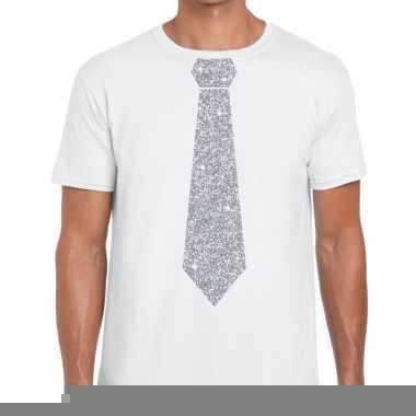 Goedkope stropdas t shirt wit met zilveren glitter das heren
