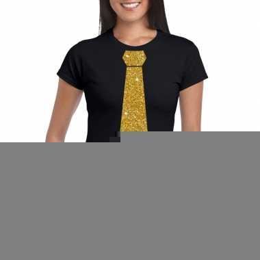 Goedkope stropdas t shirt zwart met glitter das dames