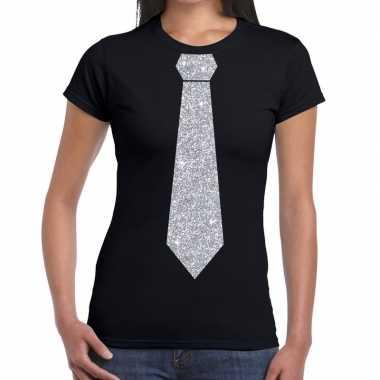 Goedkope stropdas t shirt zwart met zilveren glitter das dames