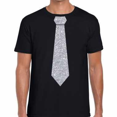 Goedkope stropdas t shirt zwart met zilveren glitter das heren