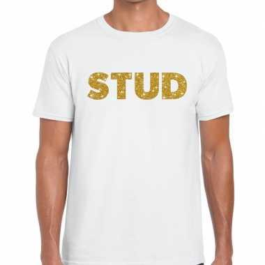 Goedkope stud goud tekst fun t shirt wit voor heren