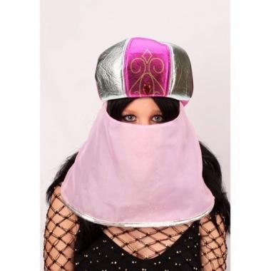 Goedkope sultan verkleed muts roze voor dames