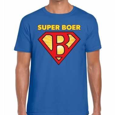Goedkope super boer zwarte cross t shirt blauw voor heren