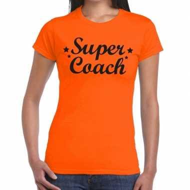 Goedkope super coach fun t shirt oranje voor dames bedankt cadeau voo