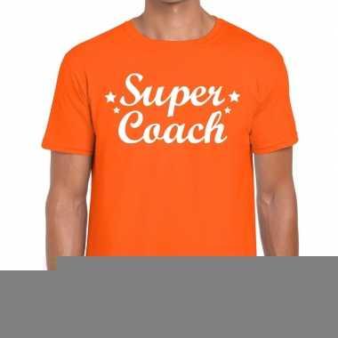 Goedkope super coach fun t shirt oranje voor heren bedankt cadeau voo