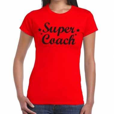 Goedkope super coach fun t shirt rood voor dames bedankt cadeau voor