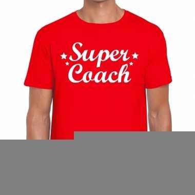 Goedkope super coach fun t shirt rood voor heren bedankt cadeau voor
