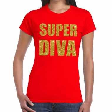 Goedkope super diva fun t shirt rood voor dames
