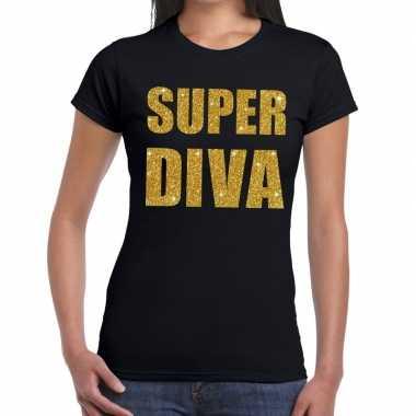 Goedkope super diva fun t shirt zwart voor dames