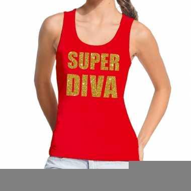 Goedkope super diva fun tanktop / mouwloos shirt rood voor dames