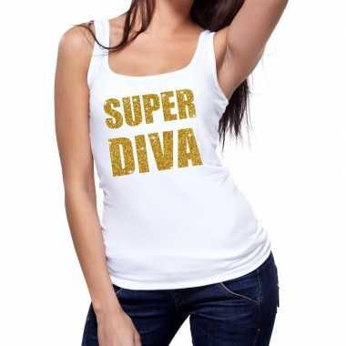 Goedkope super diva fun tanktop / mouwloos shirt wit voor dames