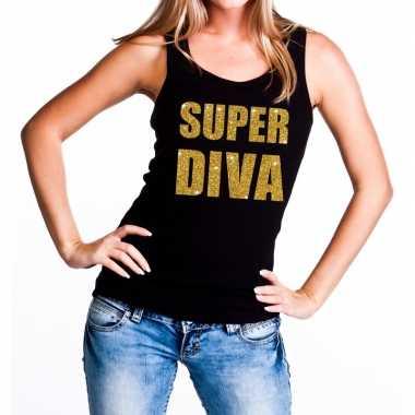 Goedkope super diva fun tanktop / mouwloos shirt zwart voor dames