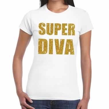 Goedkope super diva goud fun t shirt wit voor dames