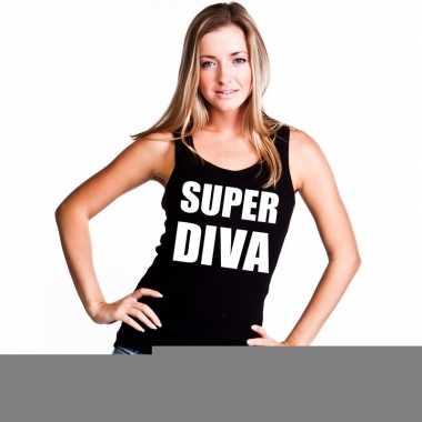 Goedkope super diva mouwloos shirt zwart voor dames