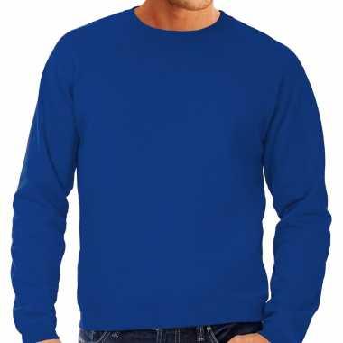 Goedkope sweater / sweatshirt trui blauw met ronde hals en raglan mouwen voor mannen