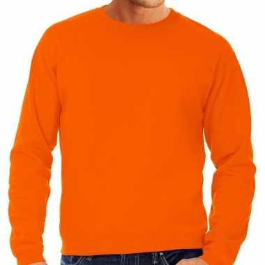 Goedkope sweater / sweatshirt trui oranje met ronde hals en raglan mouwen voor mannen koningsdag / oranje supporter