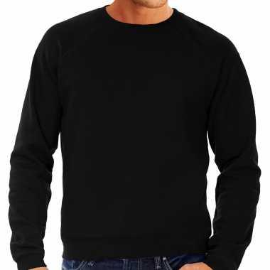 Goedkope sweater / sweatshirt trui zwart met ronde hals en raglan mouwen voor mannen