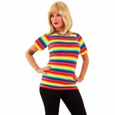 Goedkope t shirt met fel gekleurde strepen voor dames
