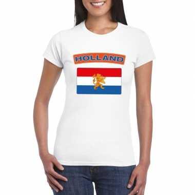 Goedkope t shirt nederlandse vlag wit dames