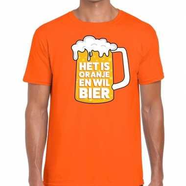 Goedkope t shirt oranje met tekst het is oranje en wil bier heren