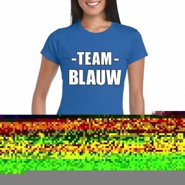 Goedkope team blauw shirt dames voor sportdag