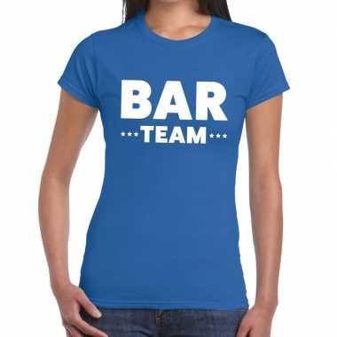 Goedkope team t shirt blauw met bar team bedrukking voor dames