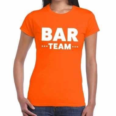 Goedkope team t shirt oranje met bar team bedrukking voor dames