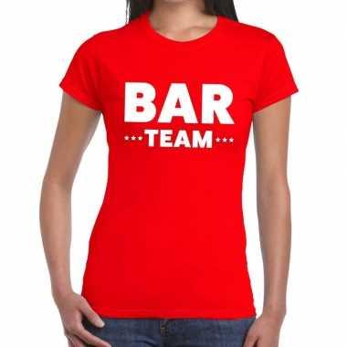 Goedkope team t shirt rood met bar team bedrukking voor dames