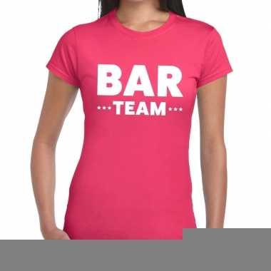 Goedkope team t shirt roze met bar team bedrukking voor dames