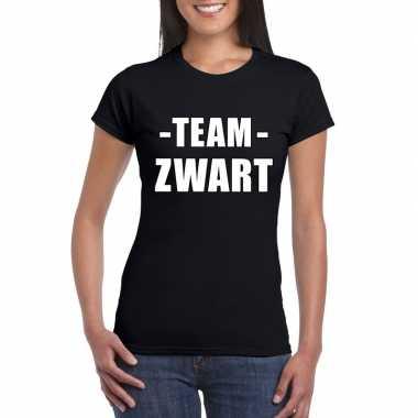 Goedkope team zwart shirt dames voor sportdag