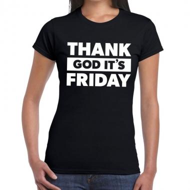 Goedkope thank god it is friday fun t shirt zwart voor dames