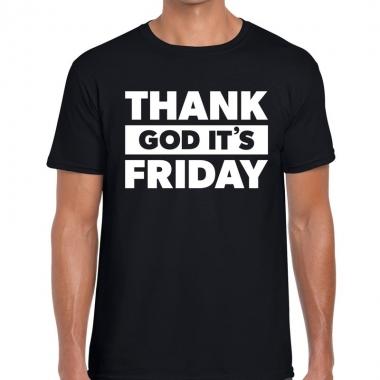 Goedkope thank god it is friday fun t shirt zwart voor heren