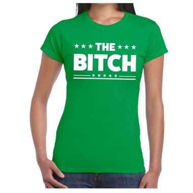 Goedkope the bitch fun t shirt groen voor dames