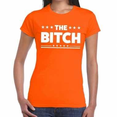 Goedkope the bitch fun t shirt oranje voor dames