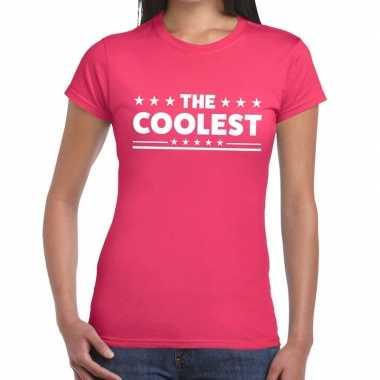 Goedkope the coolest fun t shirt roze voor dames
