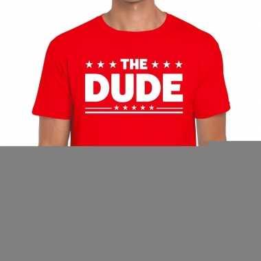 Goedkope the dude fun t shirt voor heren rood