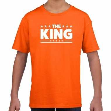 Goedkope the king fun t shirt oranje voor kids