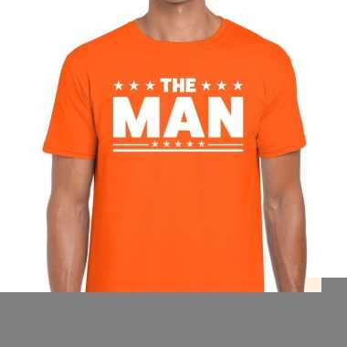 Goedkope the man fun t shirt oranje voor heren