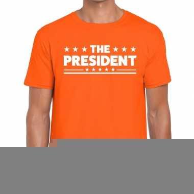 Goedkope the president fun t shirt oranje voor heren