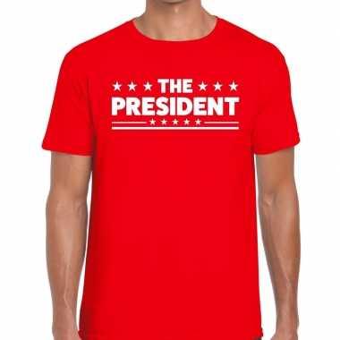 Goedkope the president fun t shirt voor heren rood