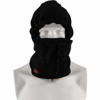 Goedkope thermo bivakmuts fleece zwart voor heren