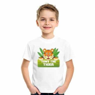 Goedkope tijger dieren t shirt wit voor kinderen