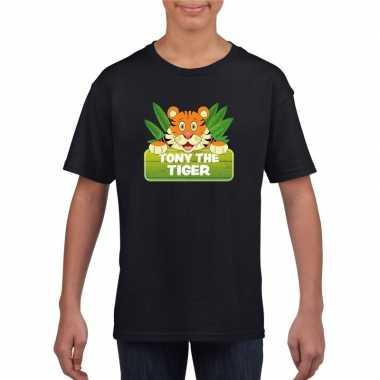 Goedkope tijger dieren t shirt zwart voor kinderen