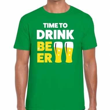 Goedkope time to drink beer fun t shirt groen voor heren