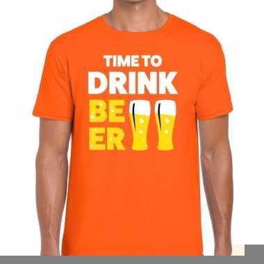 Goedkope time to drink beer fun t shirt oranje voor heren