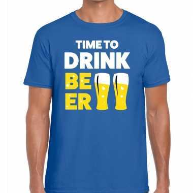Goedkope time to drink beer fun t shirt voor heren blauw