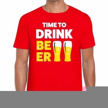 Goedkope time to drink beer fun t shirt voor heren rood
