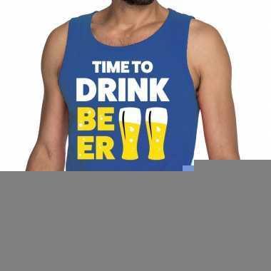 Goedkope time to drink beer fun tanktop / mouwloos shirt blauw voor h