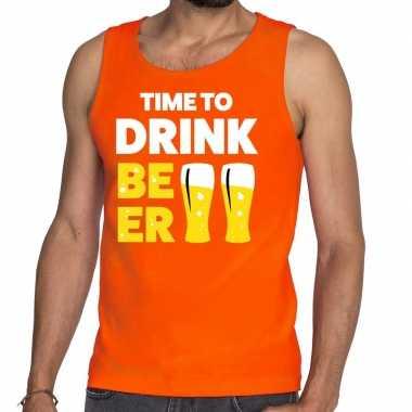 Goedkope time to drink beer fun tanktop / mouwloos shirt oranje voor